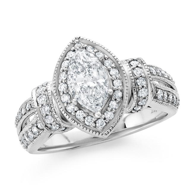 1.50 Carat Diamond Engagement Ring in 14k White Gold (H-I/I2)