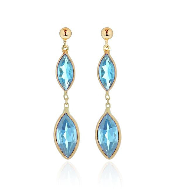6.00 Carat Genuine Blue Topaz Marquise Dangle Earrings in 14k Yellow Gold
