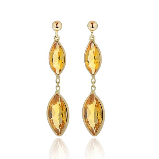 6.00 Carat Genuine Citrine Marquise Dangle Earrings in 14k Yellow Gold