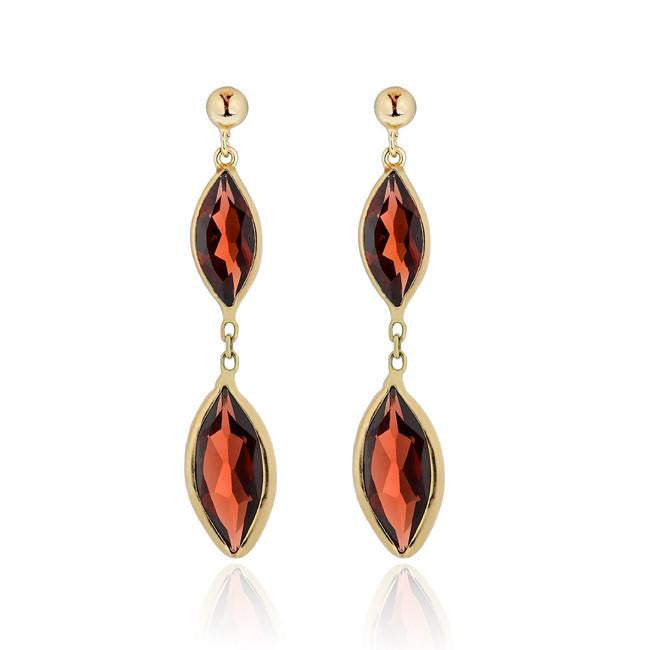 6.00 Carat Genuine Garnet Marquise Dangle Earrings in 14k Yellow Gold