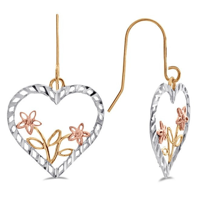 Diamond Cut Heart & Flower Earrings in Tri-Color 10K Gold