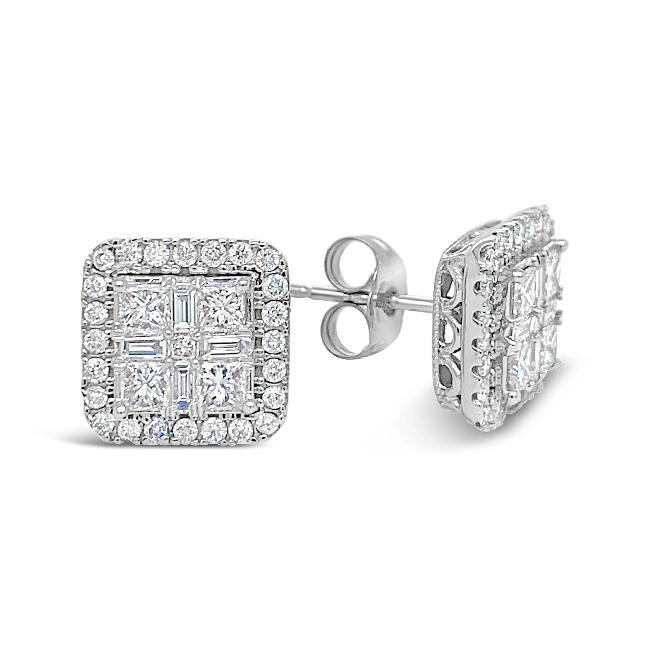 1.00 Carat Quad Princess-Cut Diamond Earrings in 10K White Gold