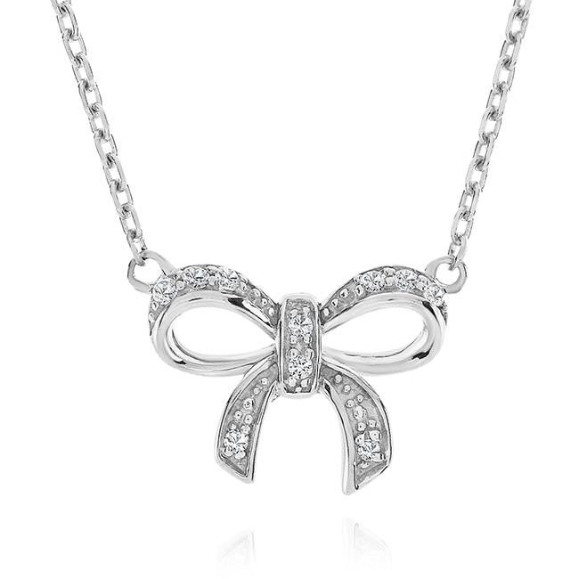 Created White Sapphire Bow Pendant in Sterling Silver with Chain - 18""