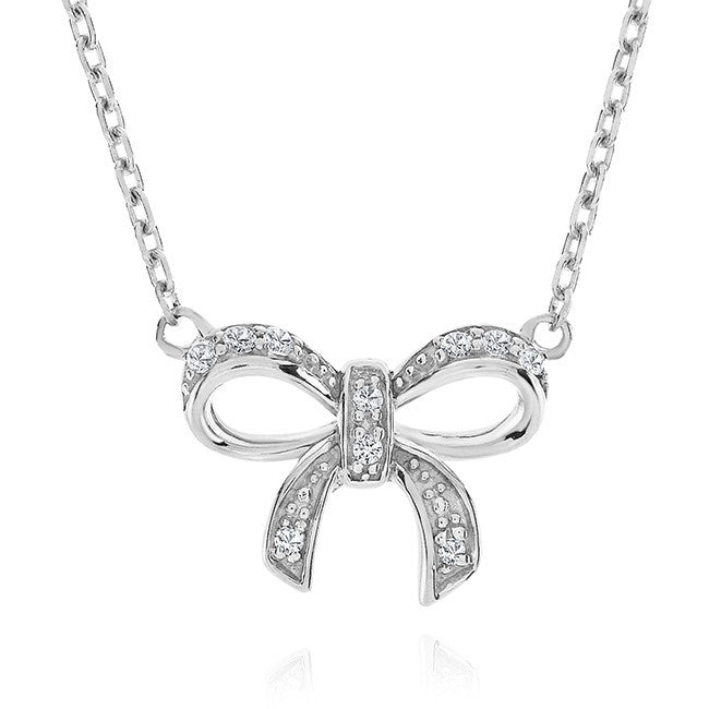 Diamond Accent & White Sapphire Bow Necklace in Sterling Silver