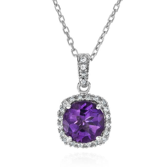 1.75 Carat Purple Amethyst & White Sapphire Pendant In Sterling Silver - 18""