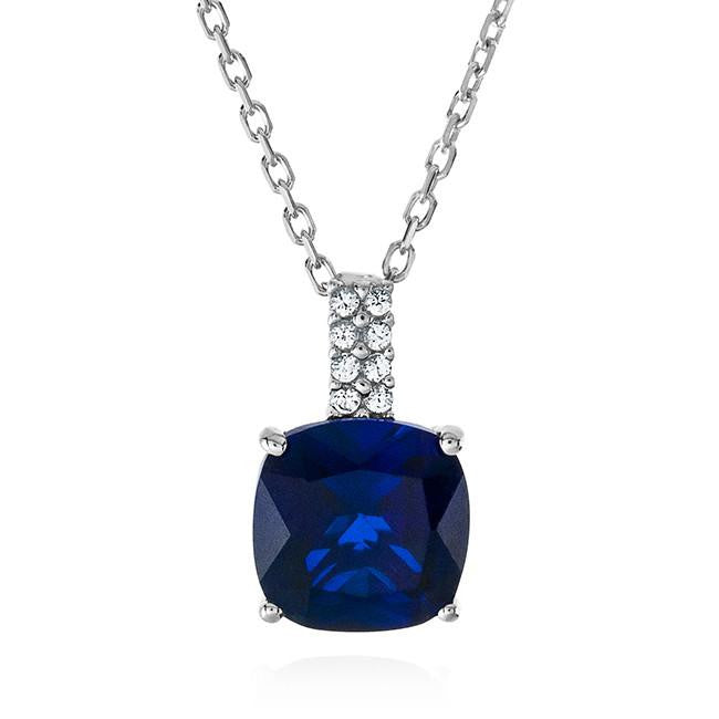 3.70 Carat Blue Sapphire & White Sapphire Pendant In Sterling Silver - 18""