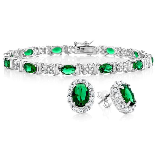 11.00 Carat Emerald CZ Fashion Bracelet and Earrings Set