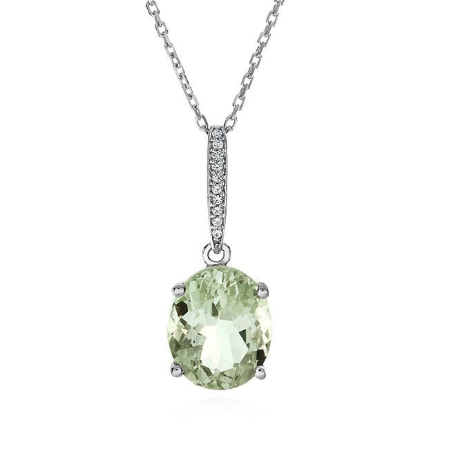 5.00 Carat Green Amethyst Pendant in Sterling Silver with Chain