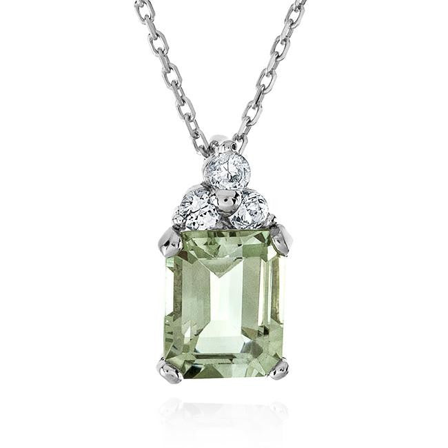 2.60 Carat Green Amethyst & White Sapphire Pendant In Sterling Silver - 18""