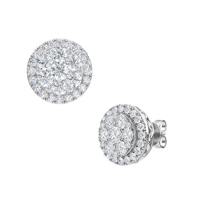 1.00 Carat Lab-Grown Diamond Cluster Halo Earrings in 14K White Gold (G-H/SI2)