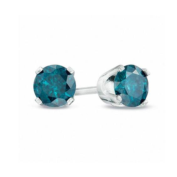 1/2 Carat Blue Diamond Stud Earrings in Sterling Silver