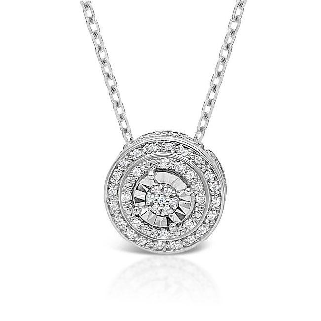 1/8 Carat Diamond Double Halo Pendant in Sterling Silver - 18""