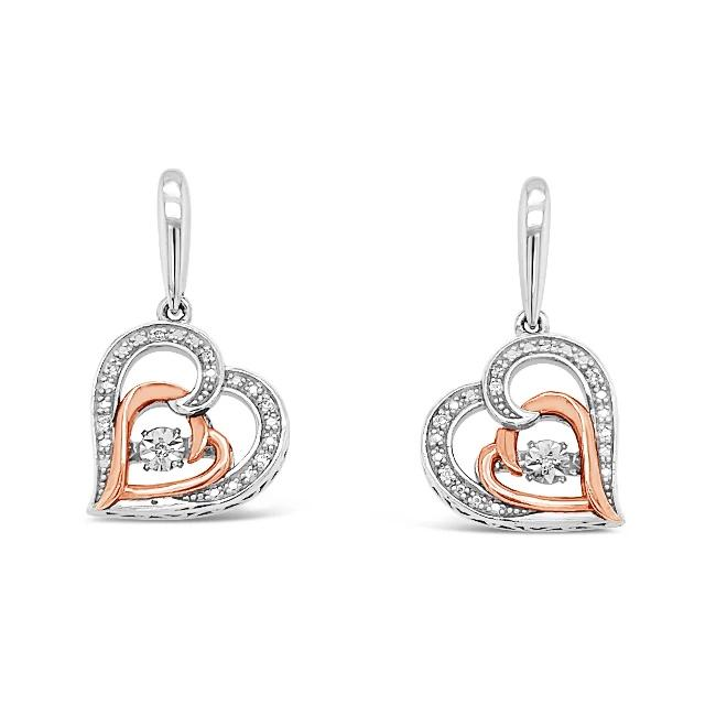 Diamond Accent Heart Earrings in Two-Tone Sterling Silver