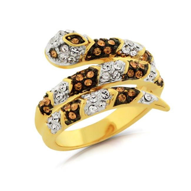 Brown & White Crystal Snake Ring in Gold-Plated Bronze