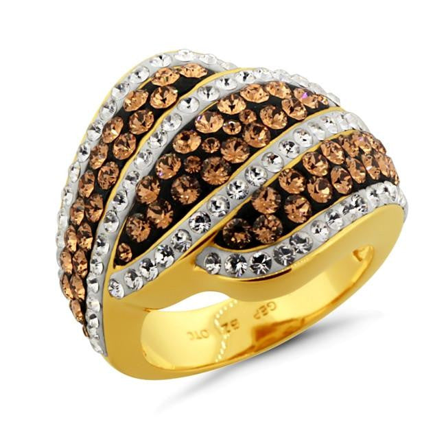 Brown & White Crystal Fashion Ring in Gold-Plated Bronze