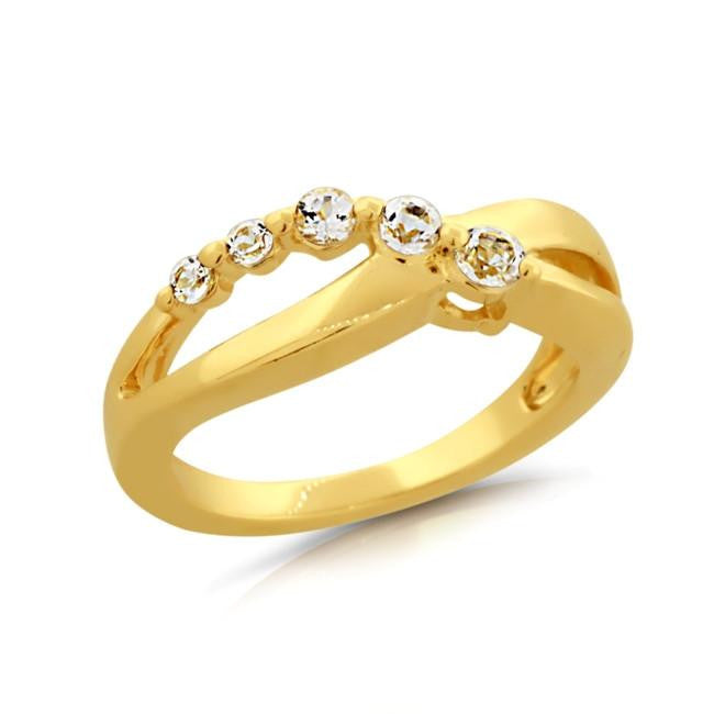 1/2 Carat White Sapphire Infinity Ring in Gold-Plated Silver