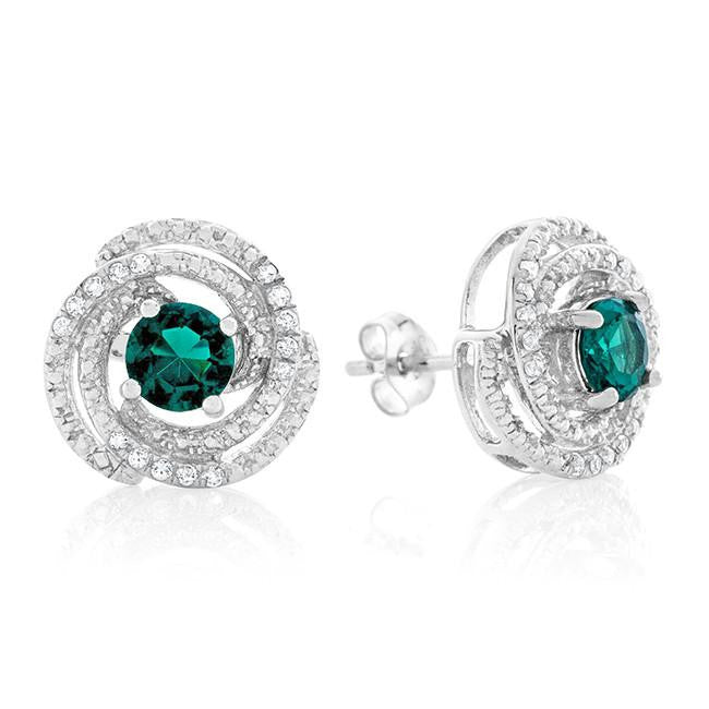 1.10 Carat tw Emerald & Topaz Swirl Earrings in Sterling Silver