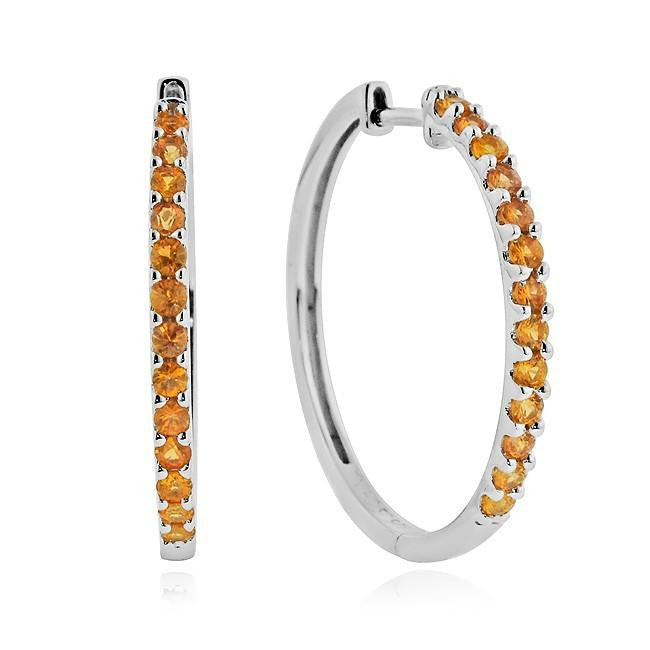 1.00 Carat tw Orange Sapphire Hoop Earrings in Sterling Silver
