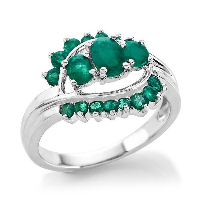 1.36 Carat tw Emerald Ring in Sterling Silver