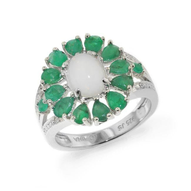 1.25 Carat tw Emerald, Opal & Diamond Flower Ring in Sterling Silver