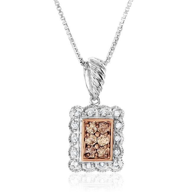 "0.25 Carat White and Treated Champagne Diamond Sterling Silver Rectangular Pendant w/18"" Box Chain"
