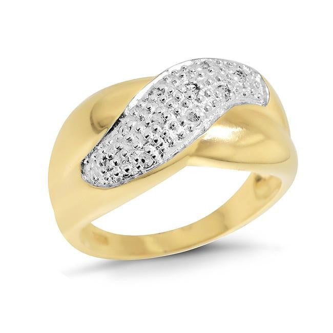 0.10 Carat Diamond and Gold Plated Sterling Silver Criss-Cross Ring