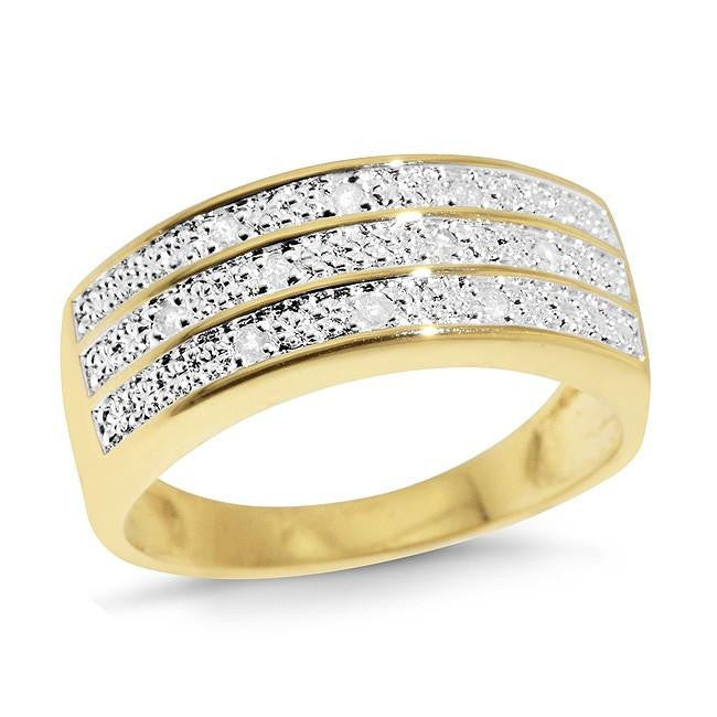 0.10 Carat Three-Row Diamond Ring in Gold Plated Sterling Silver