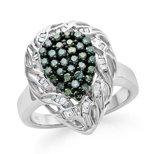 0.50 Carat Green & White Diamond Ring in Sterling Silver