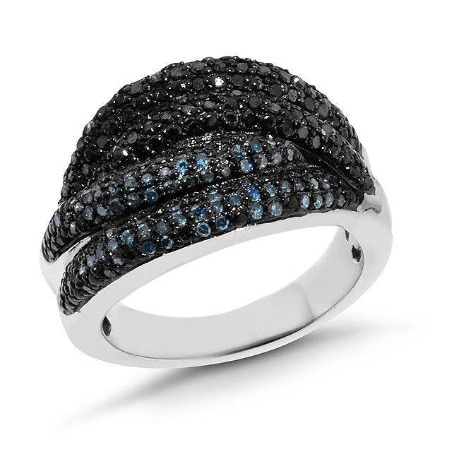 0.75 Carat Blue & Black Diamond Ring in Sterling Silver