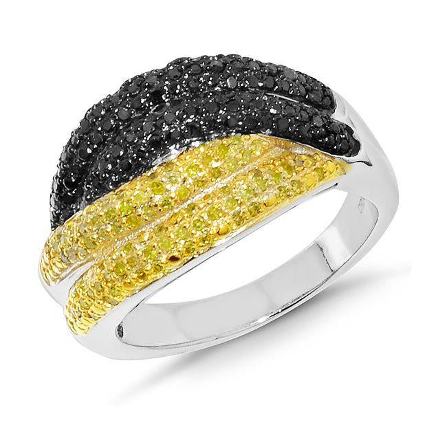 0.75 Carat Yellow & Black Diamond Ring in Sterling Silver