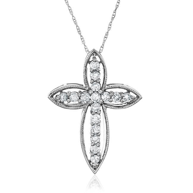 "0.5 carat tw Designer Diamond Pendant in 14K White Gold (H-I,I2) with 18"" chain"