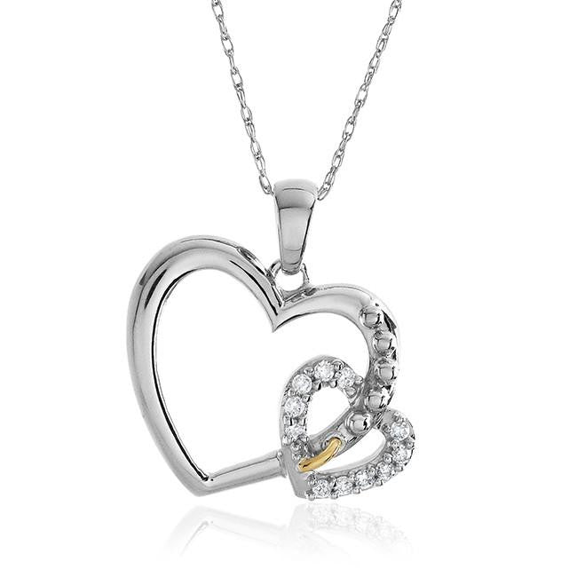 "10K Two-tone Gold 0.10 Carat Diamond Heart Pendant w/18"" Rope Chain"