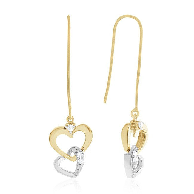 10k Two Tone Gold 0.08 Carat Dangling Heart Earrings