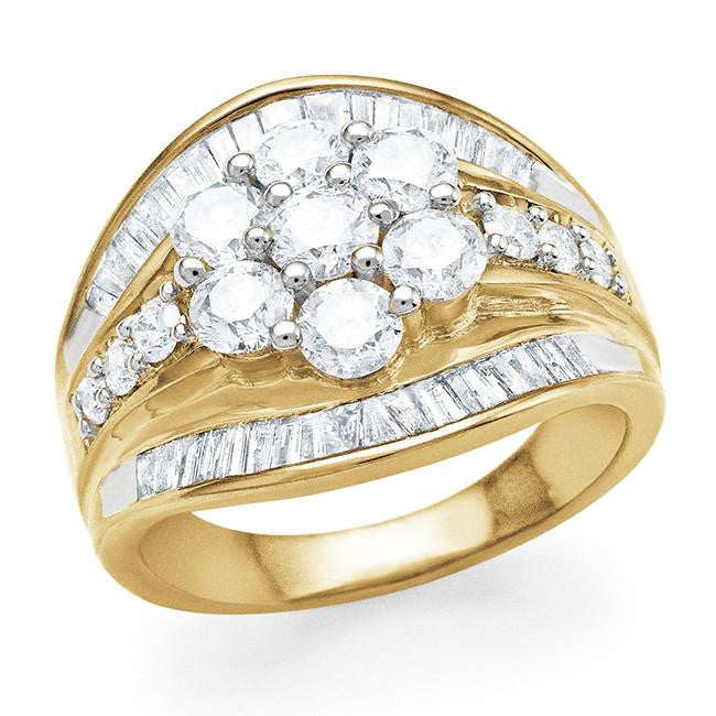 10K Yellow Gold 2.00 Carat Diamond Flower Engagement Ring