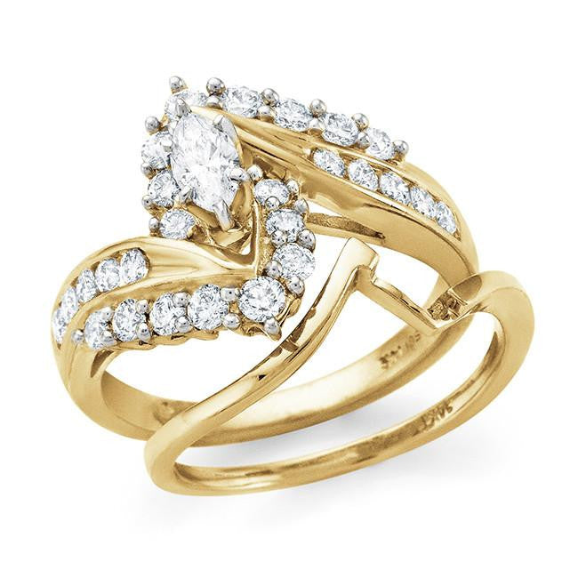 14K Yellow Gold  1.00 Carat Diamond Bridal Ring Set