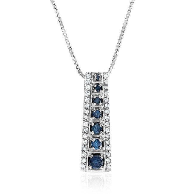 0.50 Carat Blue & White Diamond Pendant in 14k White Gold with Chain