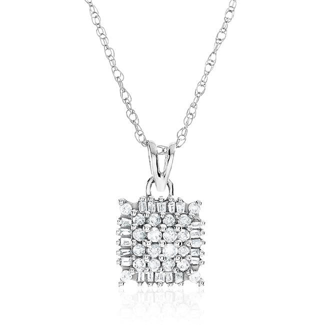 "14K White Gold  0.33 Carat Diamond Square Shape Pendant w/ 18"" White Gold Chain"