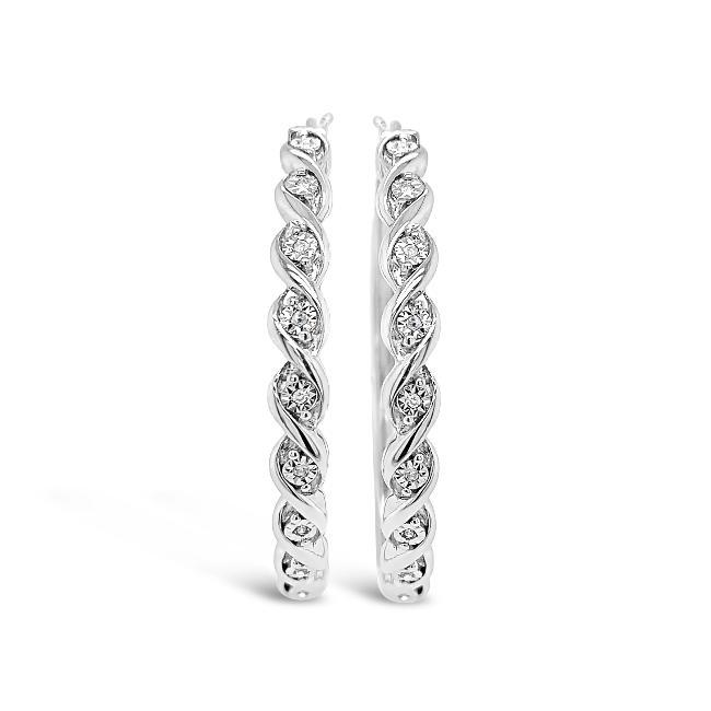 1/10 Carat Diamond Designer Miracle Set Hoop Earrings in Sterling Silver