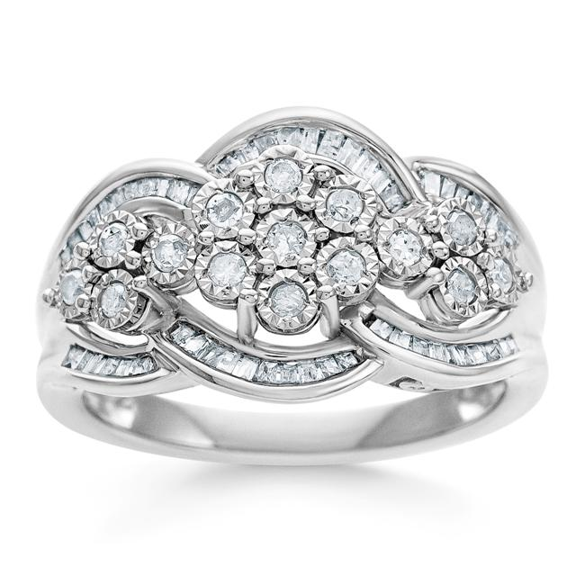 1/2 Carat Diamond Miracle Set Cluster Ring in Sterling Silver