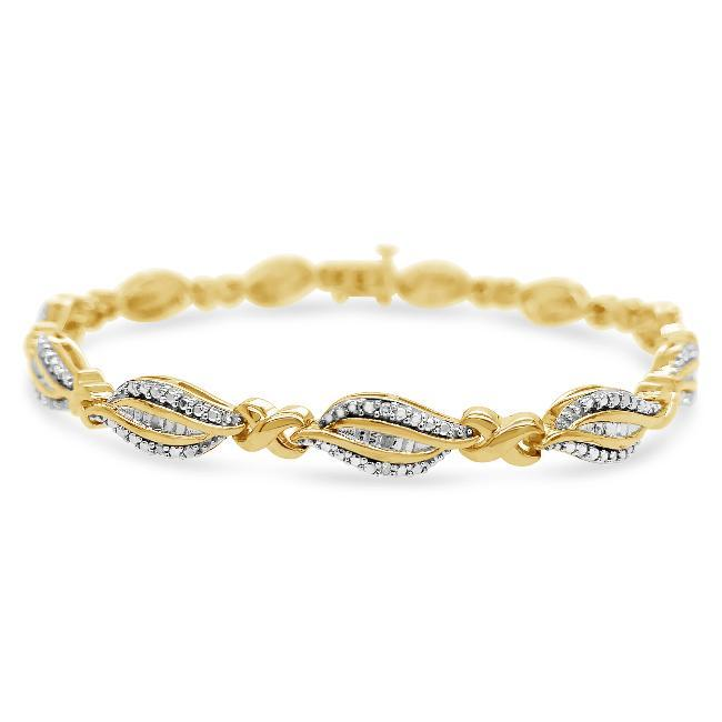 1/8 Carat Diamond Bracelet in Yellow Gold-Plated Sterling Silver - 8""