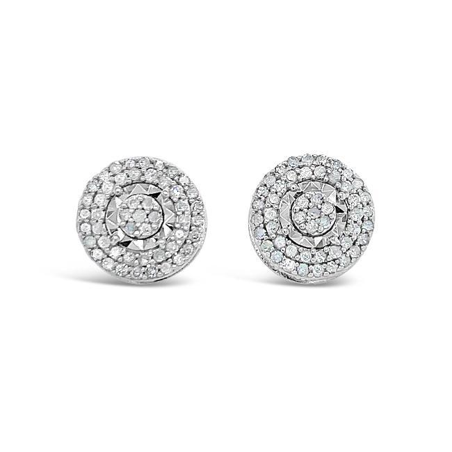 0.50 Carat Diamond Halo Earrings in Sterling Silver