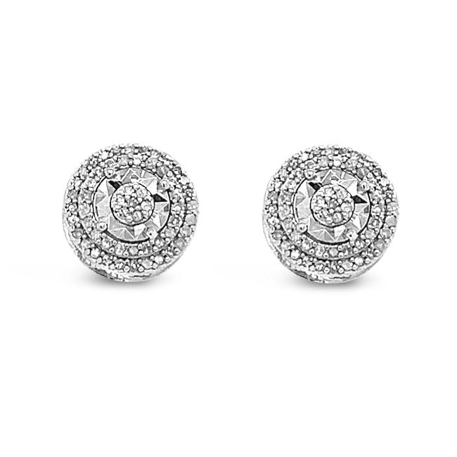 1/4 Carat Diamond Double Halo Stud Earrings in Sterling Silver