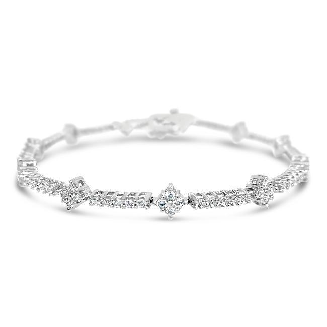 2.25 Carat Diamond Fancy Bracelet in 10K White Gold - 7""