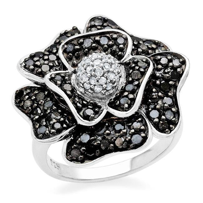 1.00 Carat Black & White Diamond Flower Ring in Sterling Silver