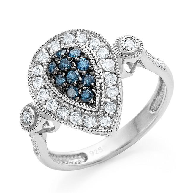 0.50 Carat Blue & White Diamond Ring in Sterling Silver