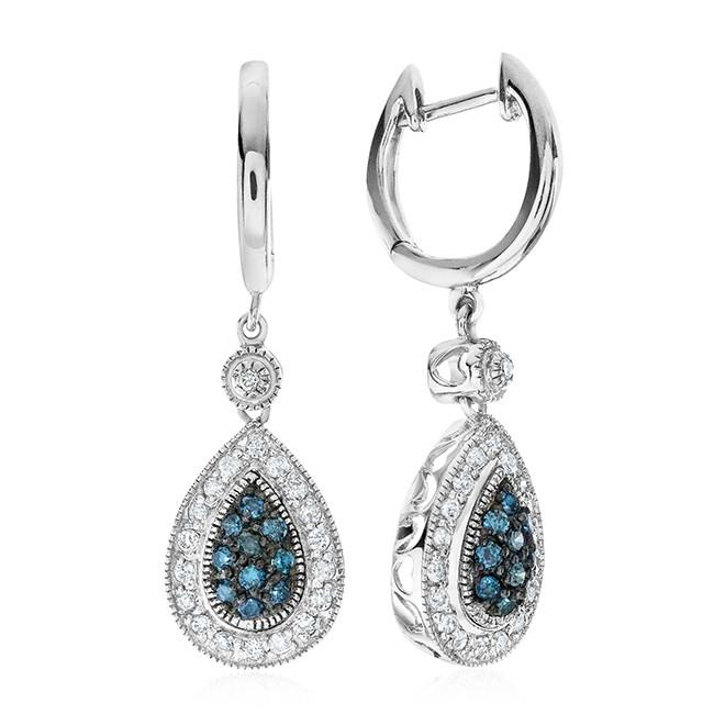 0.50 Carat Blue & White Diamond Earrings in Sterling Silver