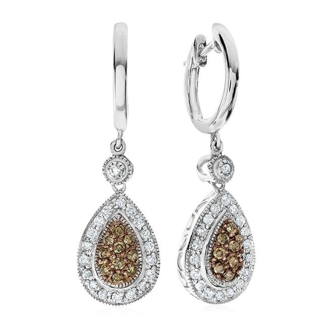 0.50 Carat Champagne & Whtie Diamond Earrings in Sterling Silver