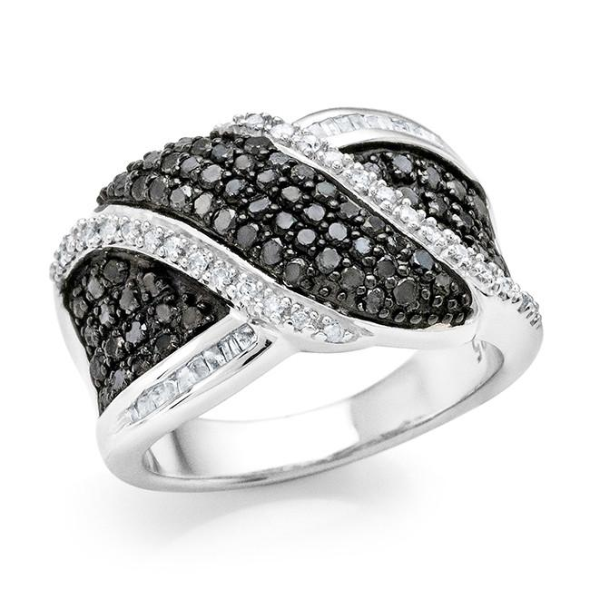 1.05 Carat Black & White Diamond Ring in Sterling Silver