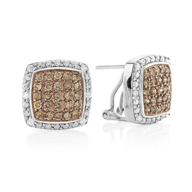 1.00 Carat Champagne & White Diamond Earrings in Sterling Silver
