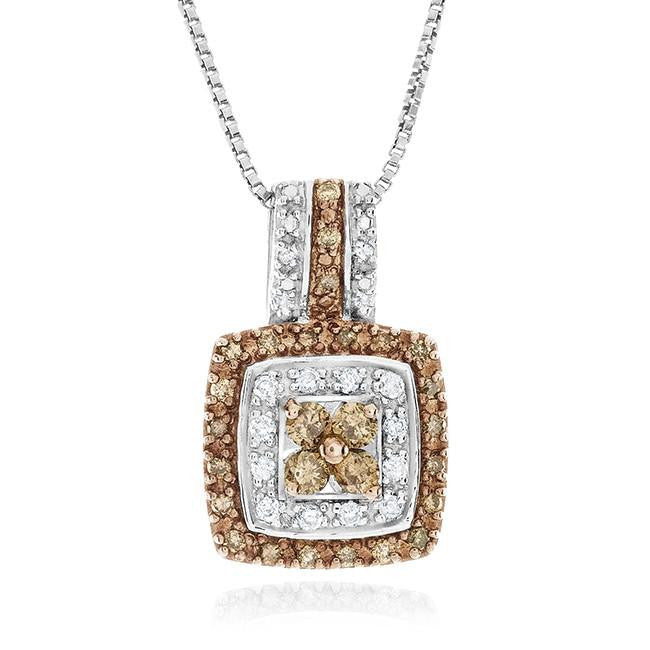 0.50 Carat Champagne & White Diamond Pendant in Sterling Silver with Chain